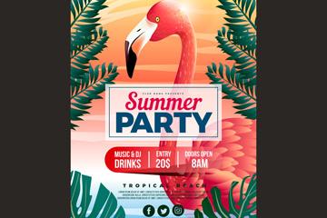 红色火烈鸟夏季派对传单矢量素材