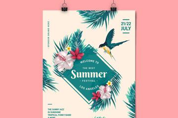 彩色花鸟夏季节日传单矢量素材