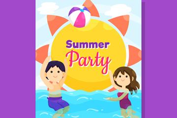 创意夏季派对人物传单矢量素材