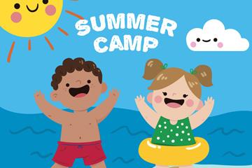 可爱海边夏季野营儿童矢量素材