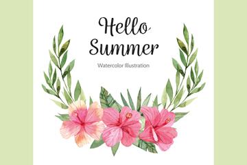 水彩绘夏季扶桑花卡片矢量素材
