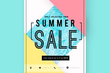 创意夏季销售传单设计矢量图