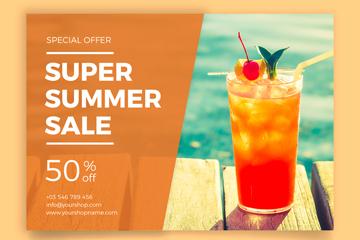 彩色夏季饮料半价促销传单矢量素