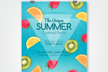 彩色水果夏季鸡尾酒派对传单矢量
