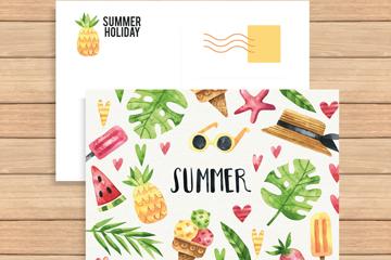 彩绘夏日假期明信片正反面矢量图