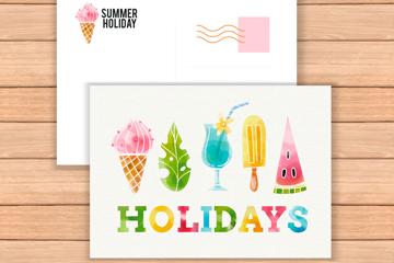 彩色夏季元素明信片正反面矢量图