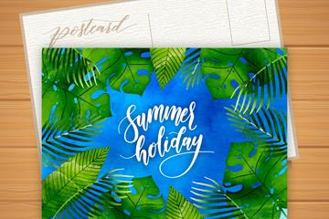 水彩绘棕榈树叶夏季明信片矢量图