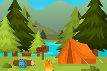 创意山林湖水野营风景矢量素材