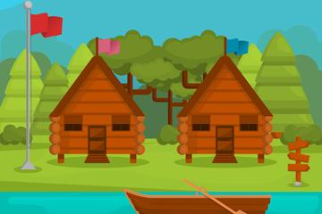 创意度假小木屋风景矢量素材