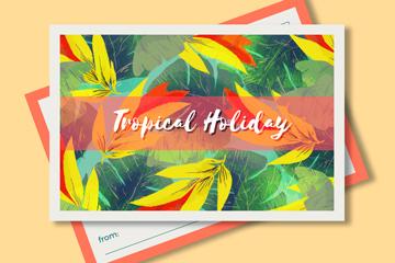 彩色热带树叶明信片矢量素材