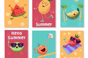 6款可爱夏季表情水果卡片矢量图