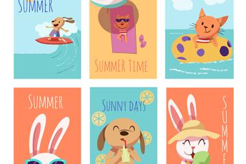 6款创意夏季动物卡片矢量素材