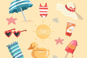 8款彩色海滩上的度假物品矢量图