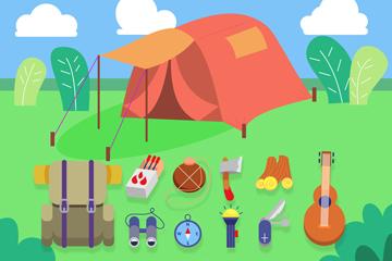 草地上的红色帐篷和11款野营物品