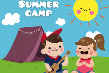 卡通郊外野营的儿童矢量素材