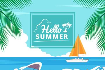 美丽夏季大海沙滩风景矢量素材