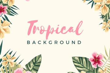 彩绘热带花卉框架矢量素材