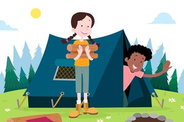 创意野营中的男孩和女孩矢量素材