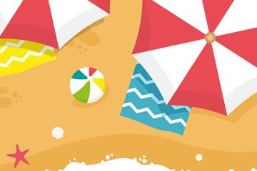 创意夏季海滩俯视图矢量素材