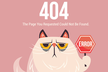 创意404错误页面举红色警示牌的猫咪矢量图