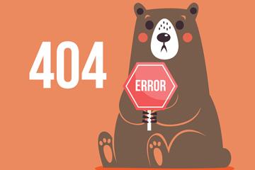 创意404错误页面坐姿棕熊矢量素材