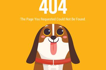 创意404错误页面吐舌比格犬矢量图
