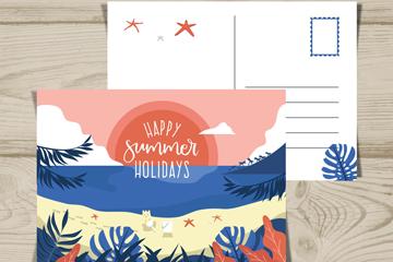 彩色夏季沙滩明信片正反面矢量图