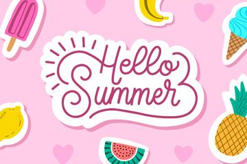 彩色你好夏季水果贴纸矢量素材