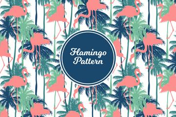 彩色棕榈树和火烈鸟剪影无缝背景矢量图
