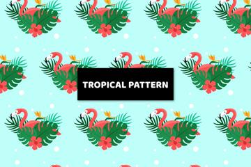 创意热带火烈鸟和树叶无缝背景矢量图