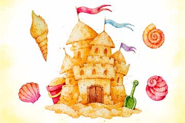 水彩绘夏季沙滩城堡和贝壳矢量素