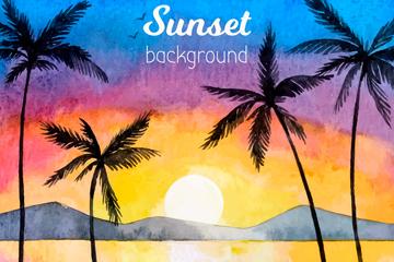 美丽夕阳下的沙滩棕榈树风景矢量素材