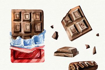 6款手�L美味巧克力矢量素材
