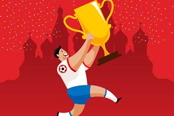 创意举着奖杯奔跑的足球运动员矢