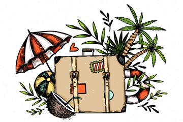 手绘旅行箱和沙滩元素矢量图