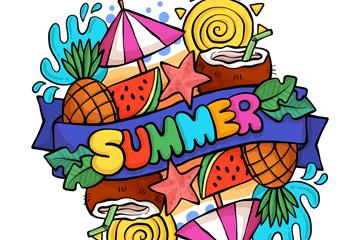 彩色夏季元素SUMMER艺术字矢量素