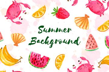 水彩绘夏季螃蟹和水果无缝背景矢