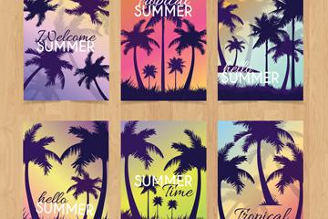 6款创意夏季棕榈树卡片矢量素材