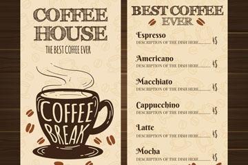 手绘咖啡馆菜单正反面矢量图