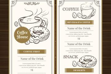 手绘咖啡屋菜单设计矢量素材