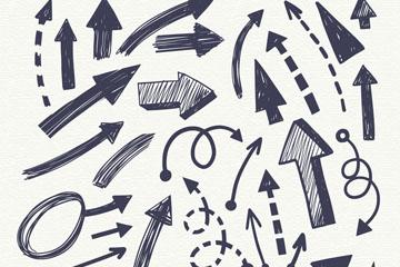 35款手绘黑色箭头设计矢量图