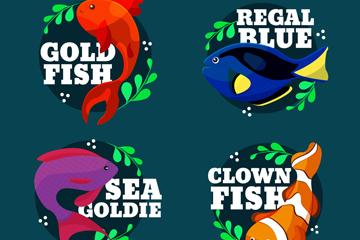 4款彩色带名字的鱼类矢量素材