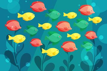 彩色海底鱼群设计矢量素材