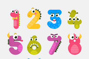 10款可爱怪兽数字矢量素材