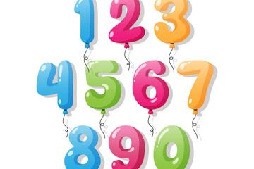 10款彩色气球数字矢量素材