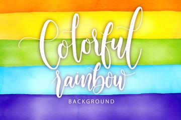 水彩绘彩虹条纹背景矢量素材