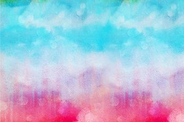 彩绘彩虹色天空设计矢量图