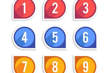 9款彩色�底炙��g字矢量素材