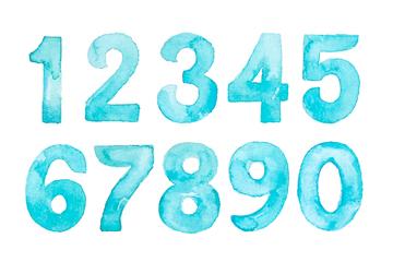 10款水彩绘蓝色数字矢量素材