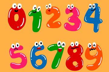 10款彩色眼睛数字设计矢量图